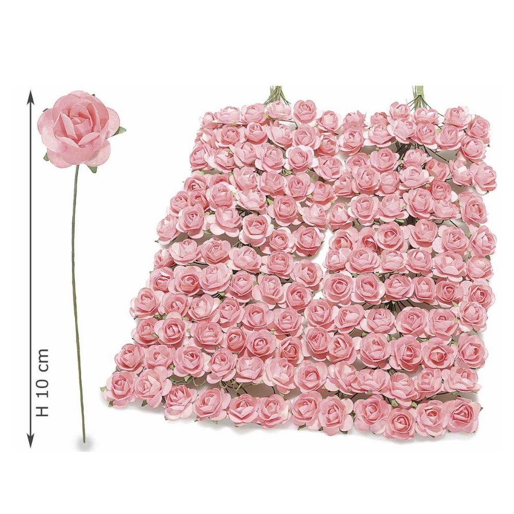 Rosellina artificiale in carta rosa per bomboniera