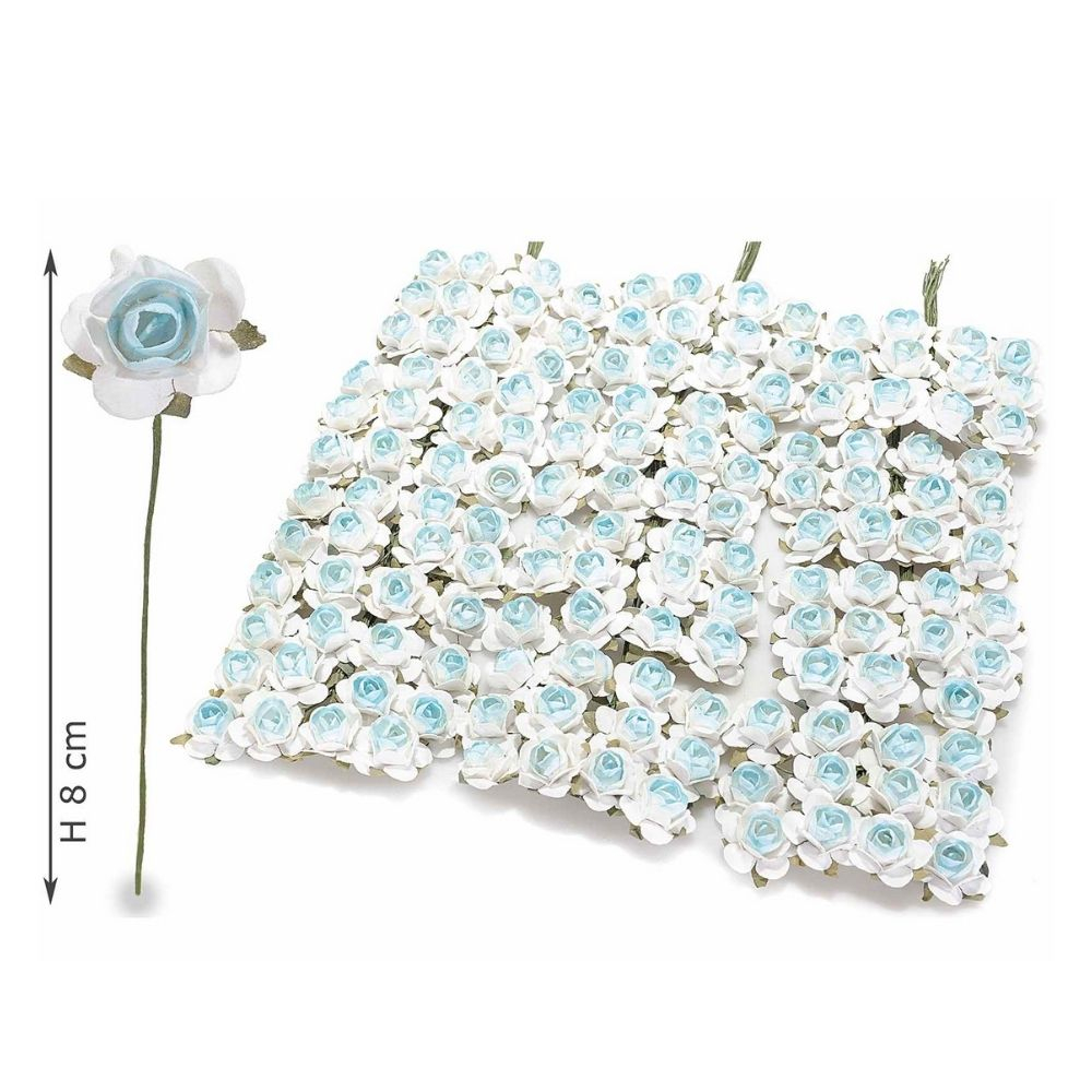 Rosellina artificiale in carta bianca azzurra per bomboniera
