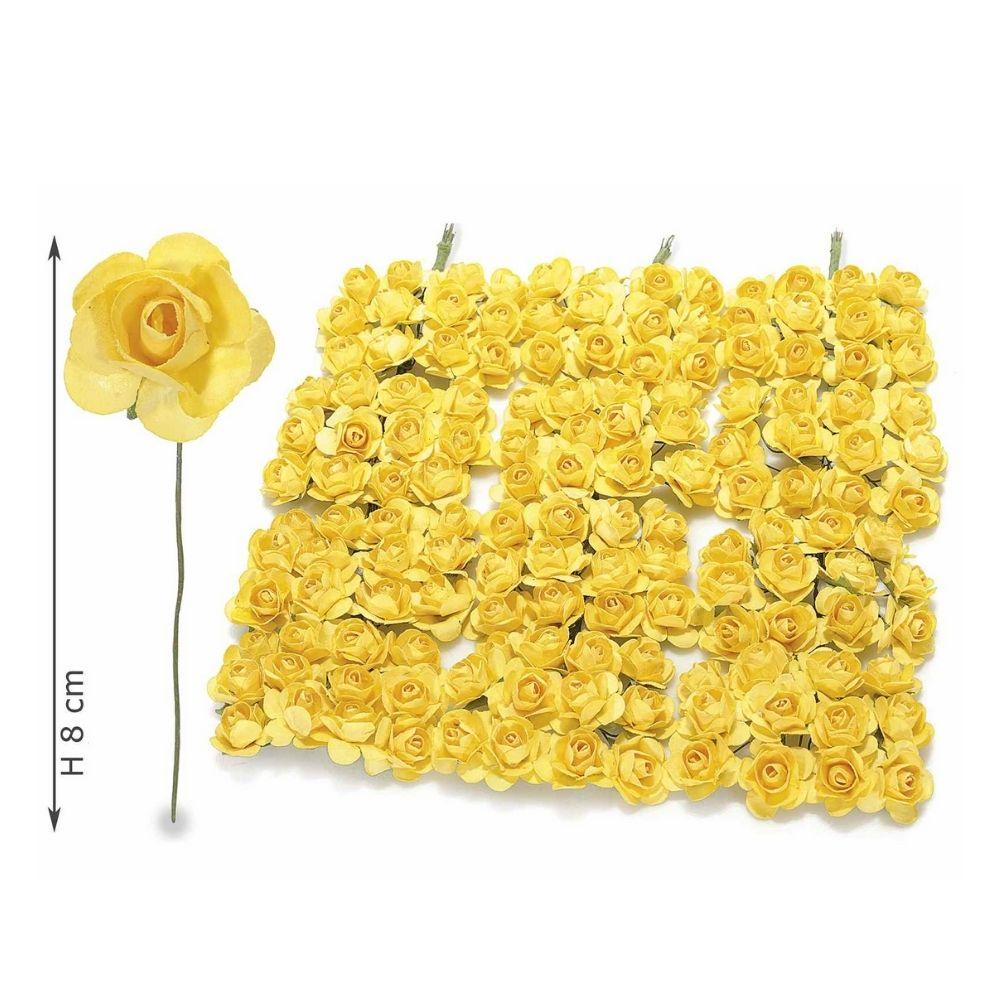 Rosellina artificiale in carta gialla per bomboniera