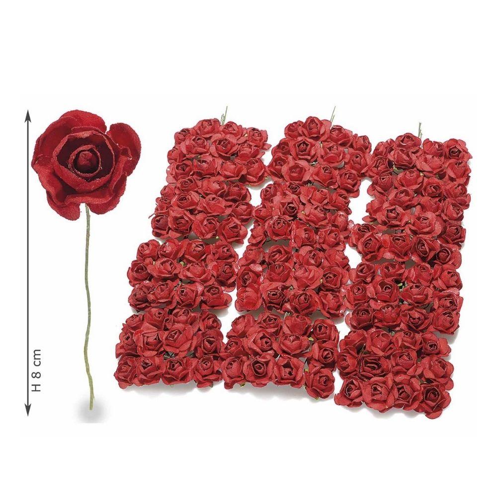 Rosellina artificiale in carta rosso scuro per bomboniera