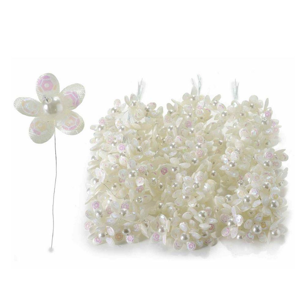 Fiorellino per bomboniera con perline e paillettes crema