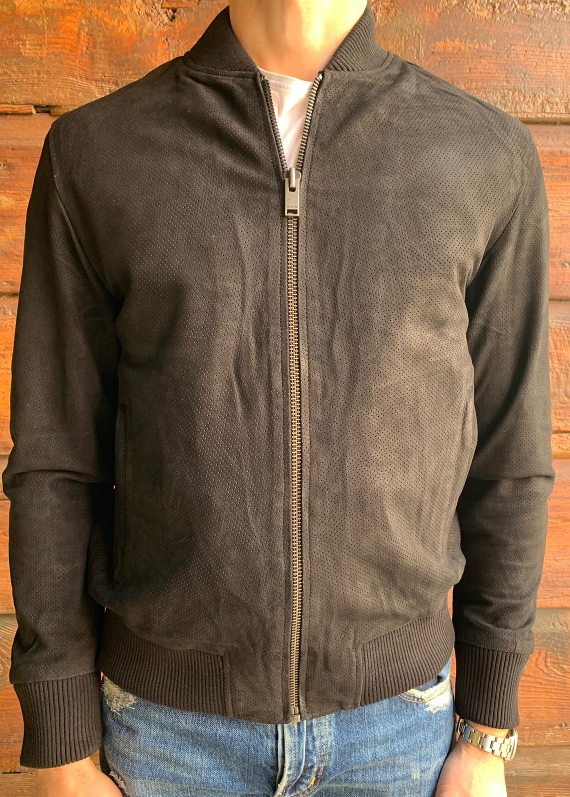 BOMBER PELLE SUEDE TRAFORATO SELECTED