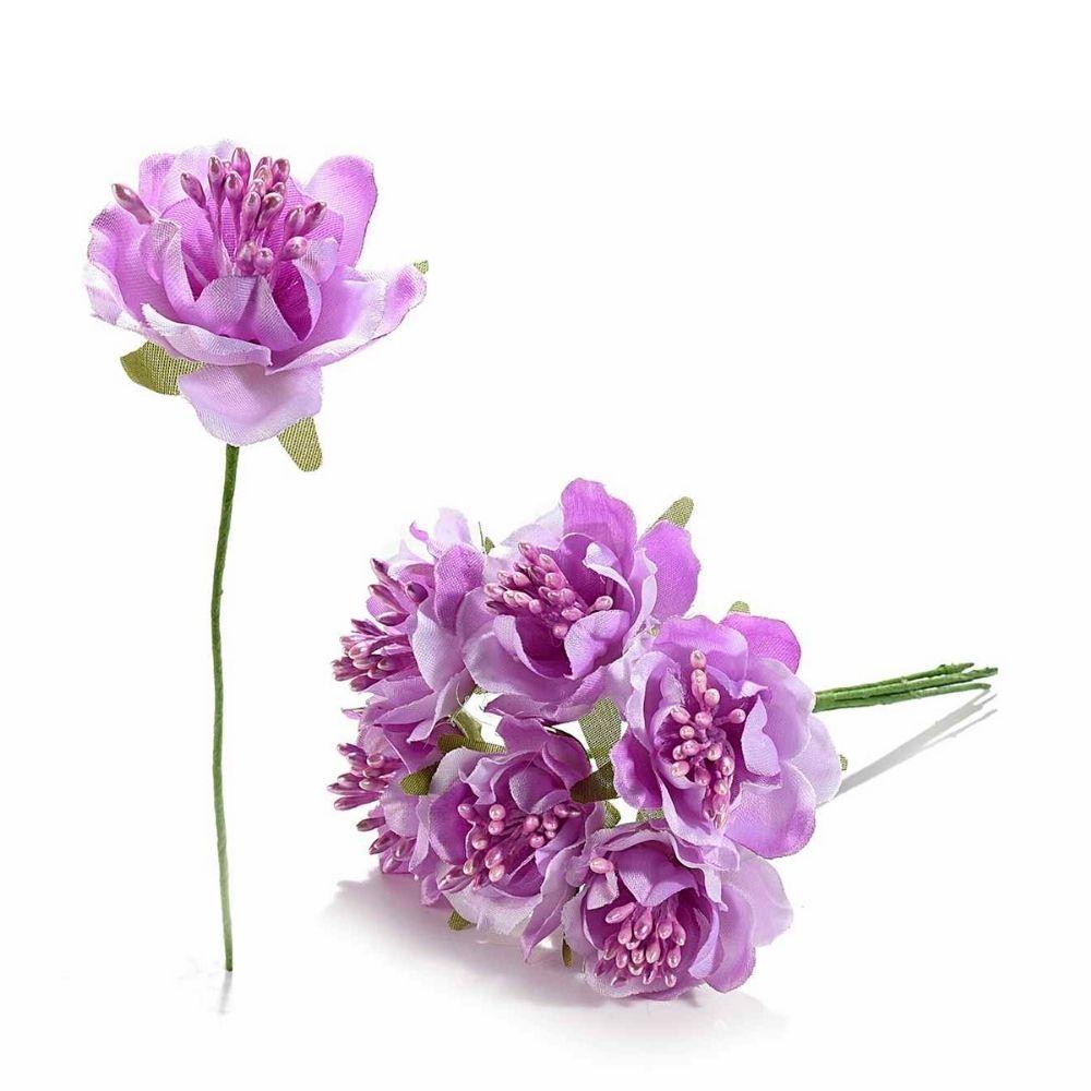 Anemone artificiale in stoffa lilla con gambo modellabile