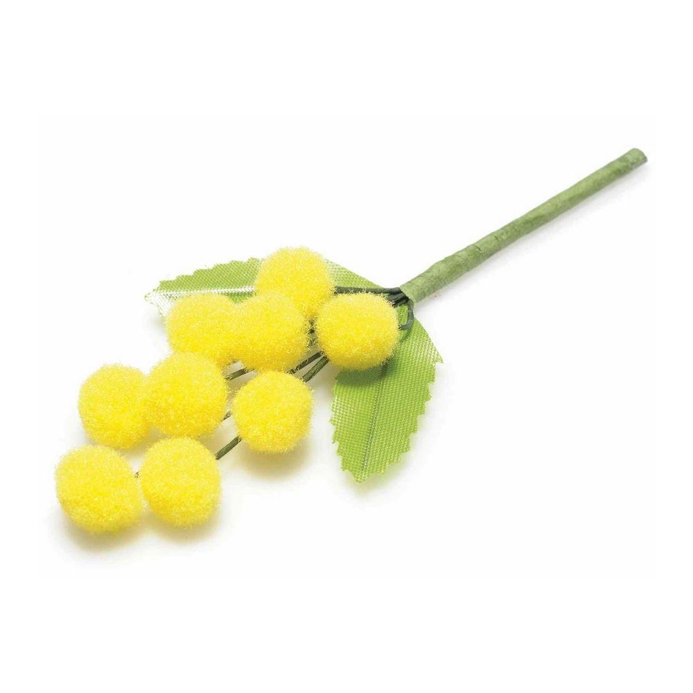 Rametto di mimosa artificiale con fiore in floccato