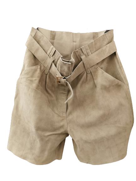 Bermuda donna| camoscio tinta salvia| tasche  laterali| cintura in vita| Made in Italy