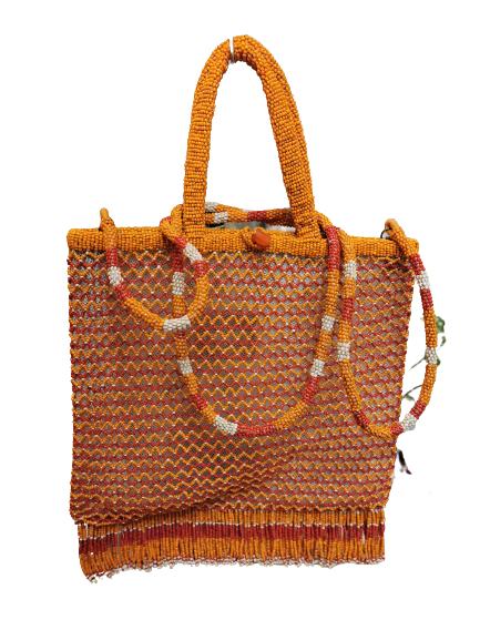 Borsa donna| lavorata| perline | manici e tracolla | arancio| Made in Italy