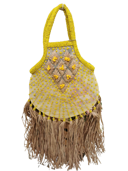 Borsina donna|giallo acido|manici e tracolla|tulle e rafia|Made in Italy
