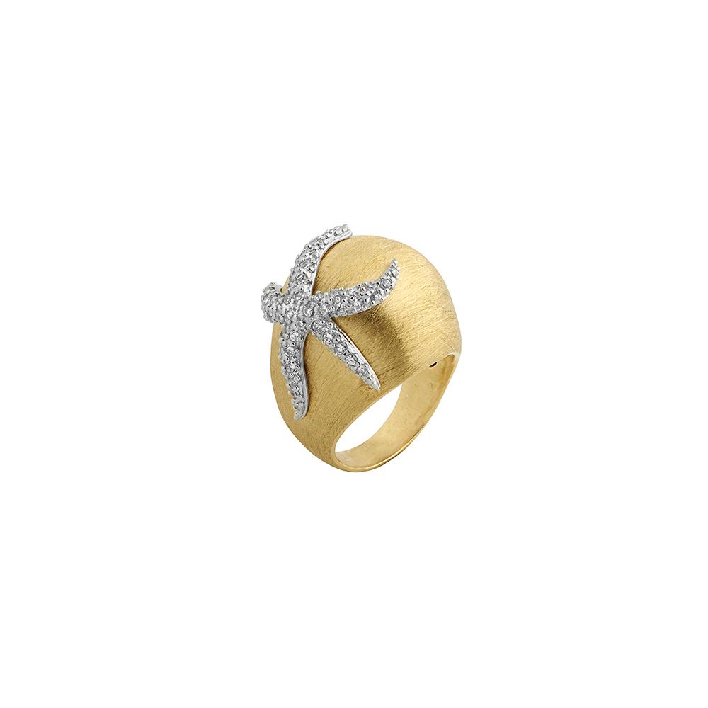 Anello a cupola in argento satinato con stella marina di zirconi