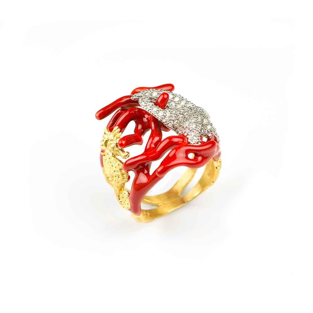 Anello con coralli e stella marina in argento, smalto rosso, zirconi