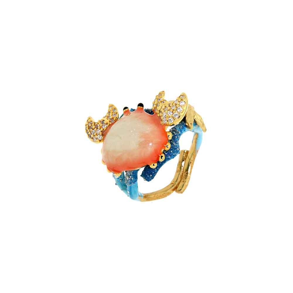 Anello design granchio in argento, smalto rosa e blu e zirconi