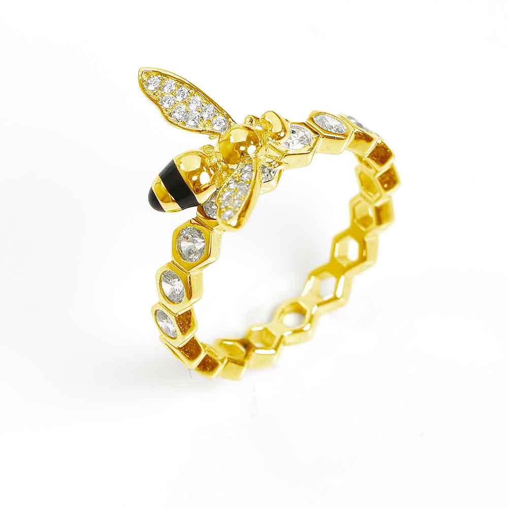 Anello eternity con ape in argento, smalto e zirconi bianchi