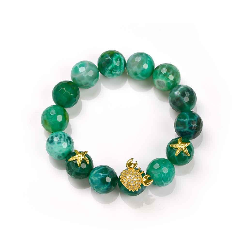 Bracciale in argento con biglie di agata verde e granchio con zirconi