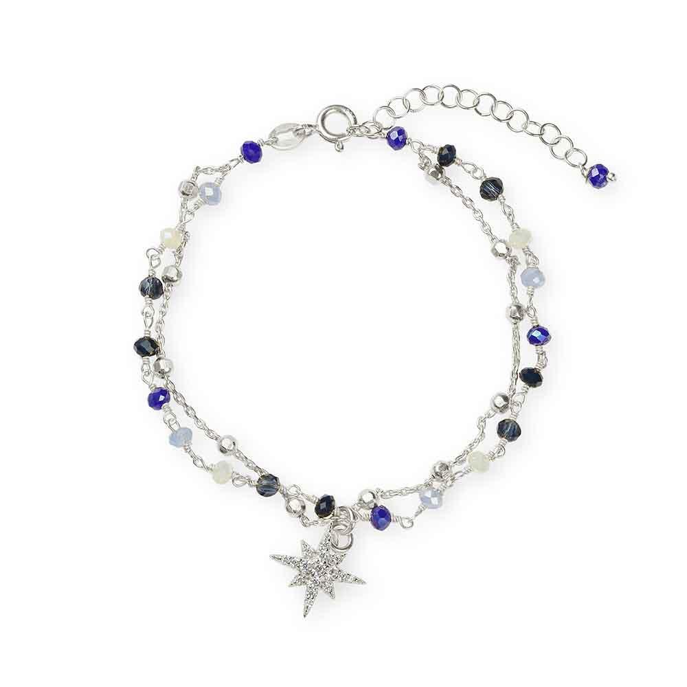 Bracciale in argento con cristalli blu e rosa dei venti in zirconi