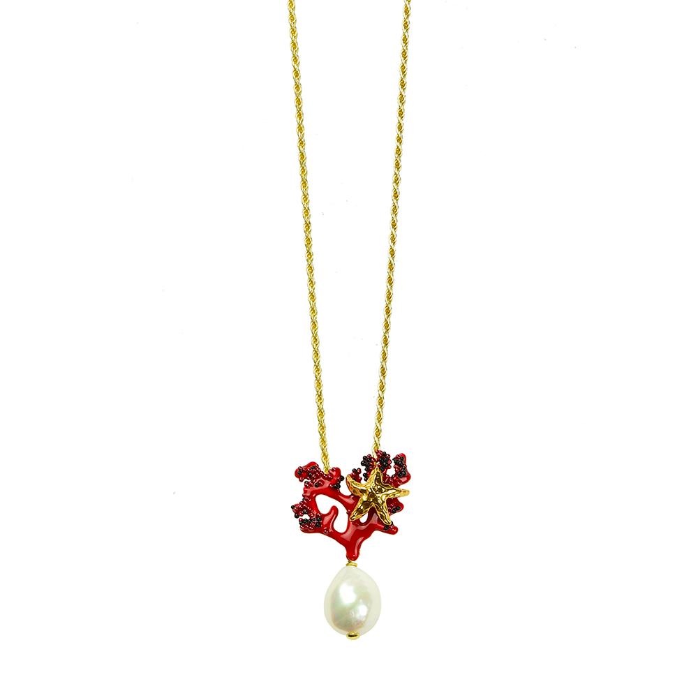 Collana in argento con pendente perla d'acqua dolce e corallo in smalto