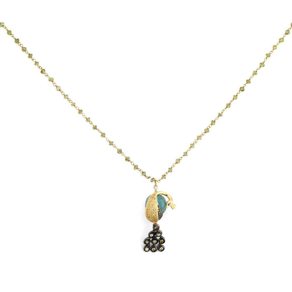 Catena in argento con pendente pavone in ossidiana verde e zirconi