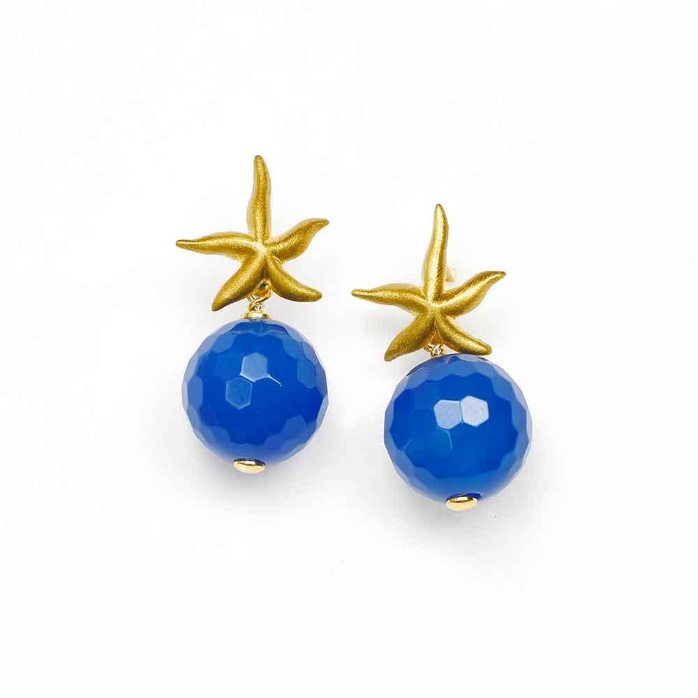 Orecchini pendenti in argento con stella marina e sfera di agata blu