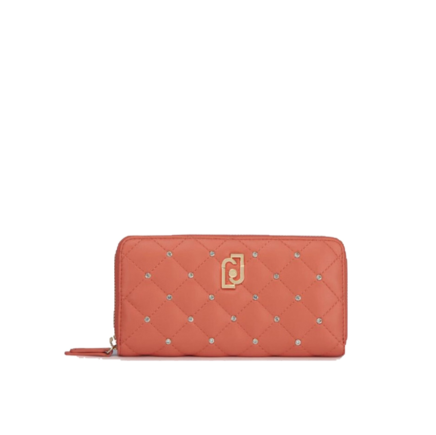 Portafoglio XL Zip Around trapuntato rosso corallo - LIU JO