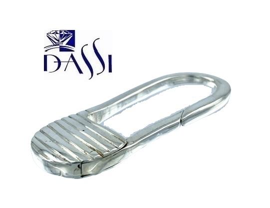 Portachiavi in argento 925 di forma ovale di 1,8 x 5 cm