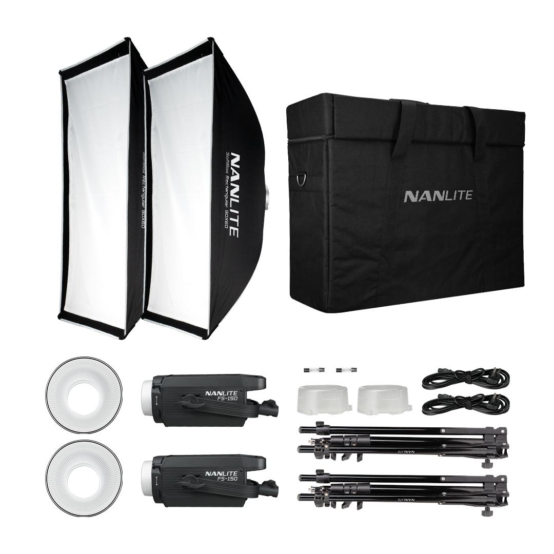 FS-150 Kit 2 Led Spot Daylight 185W 5600K completo di stativi