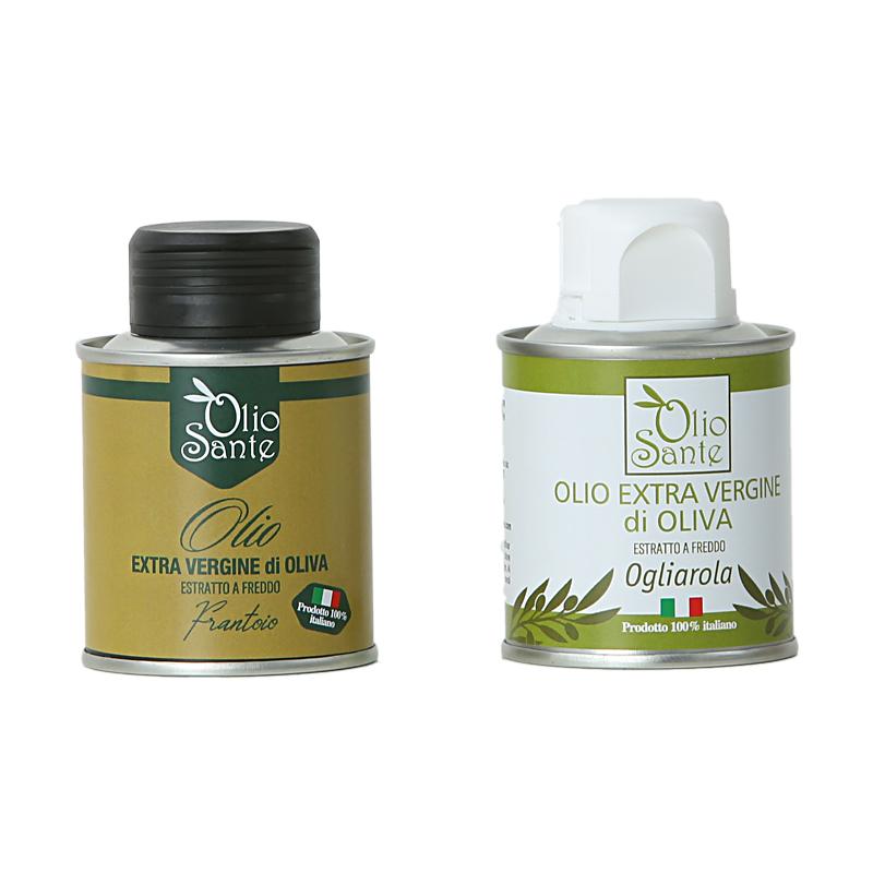 Campioni d'assaggio in lattine da 100ml Olio EVO cultivar Ogliarola e Olio EVO cultivar Frantoio-