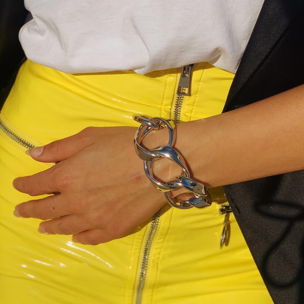 Bracciale maglie larghe oro bianco Francesca Bianchi Design