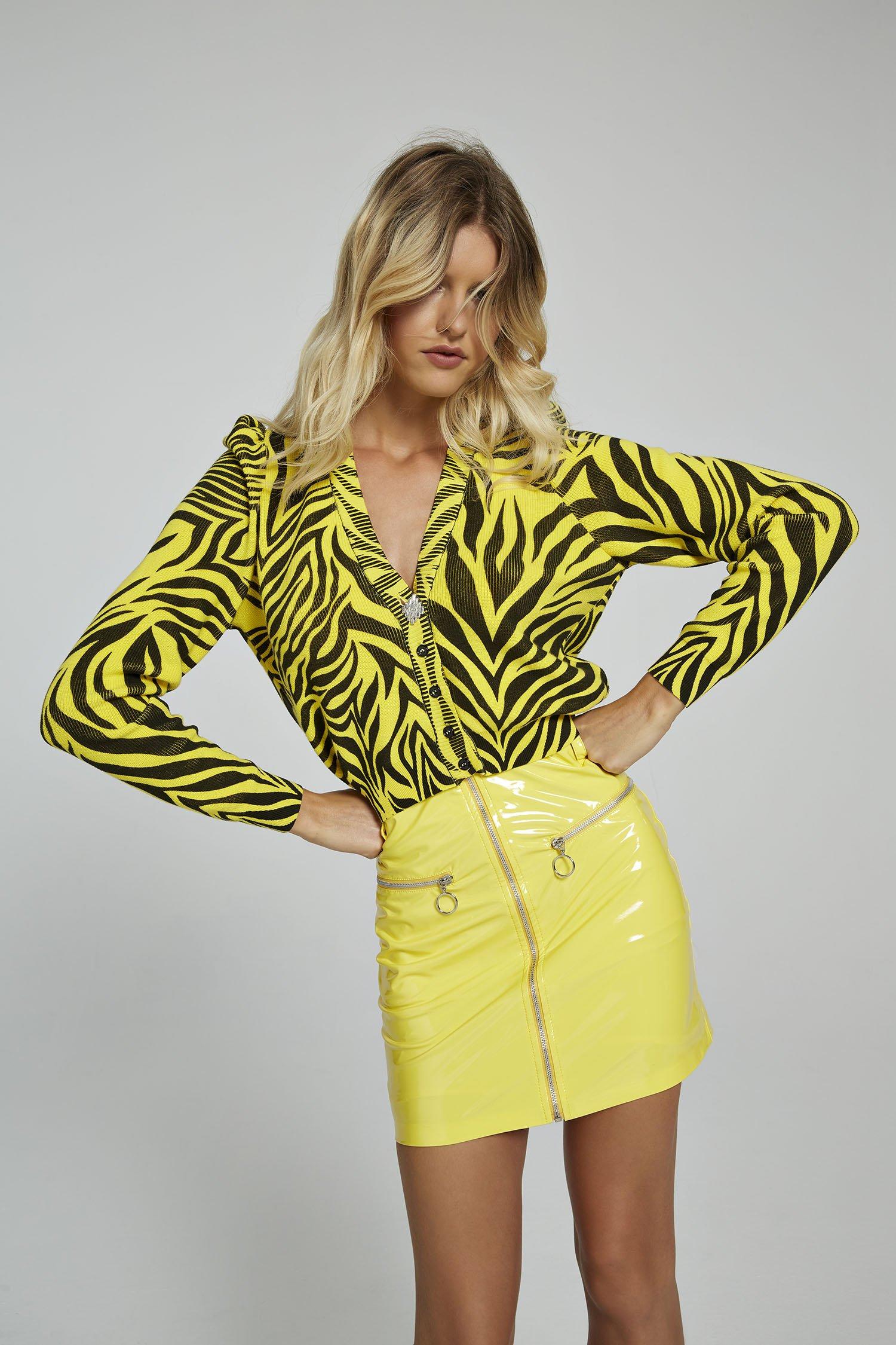 Cardigan stampa zebra gialla Aniye By