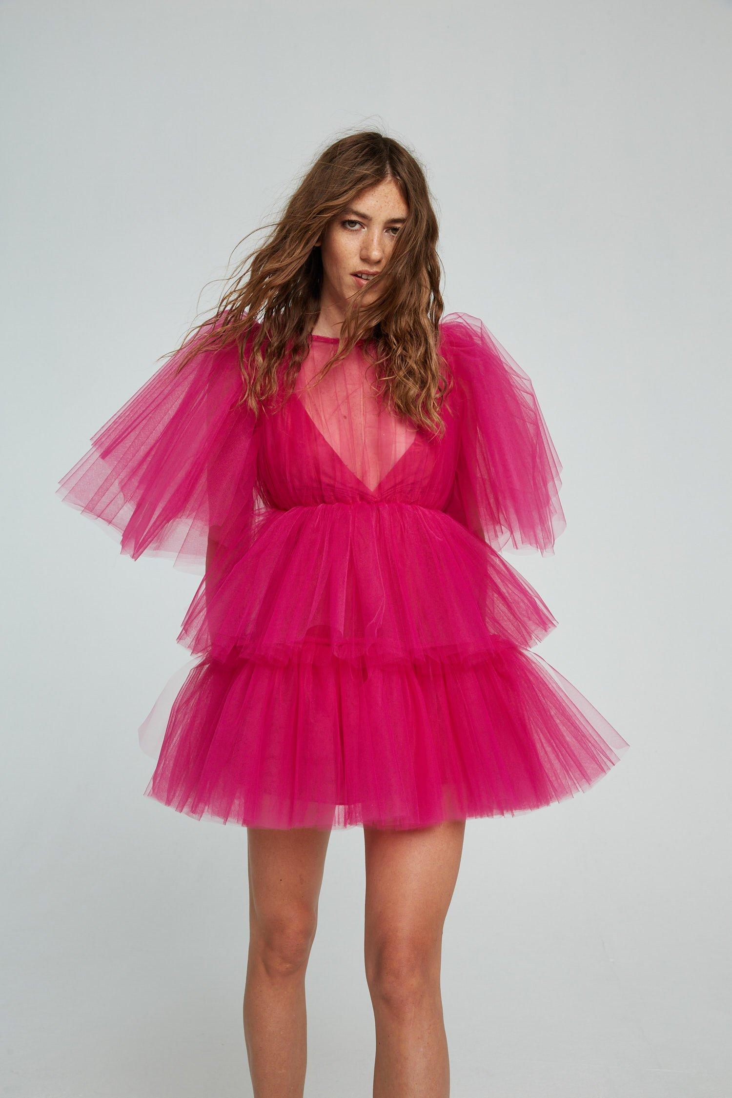 Abito Pouf Dress Nina in tulle a balze Aniye By