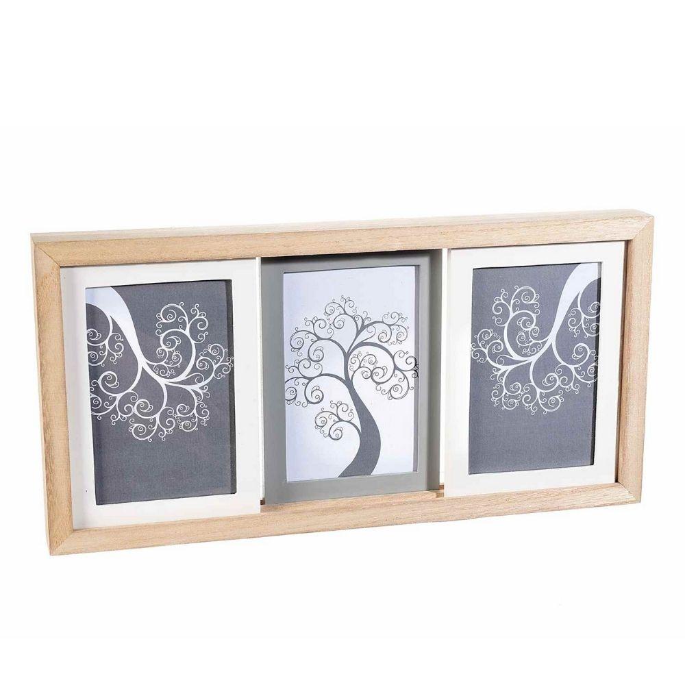 Quadro portafoto legno a 3 cornici scorrevoli da appendere