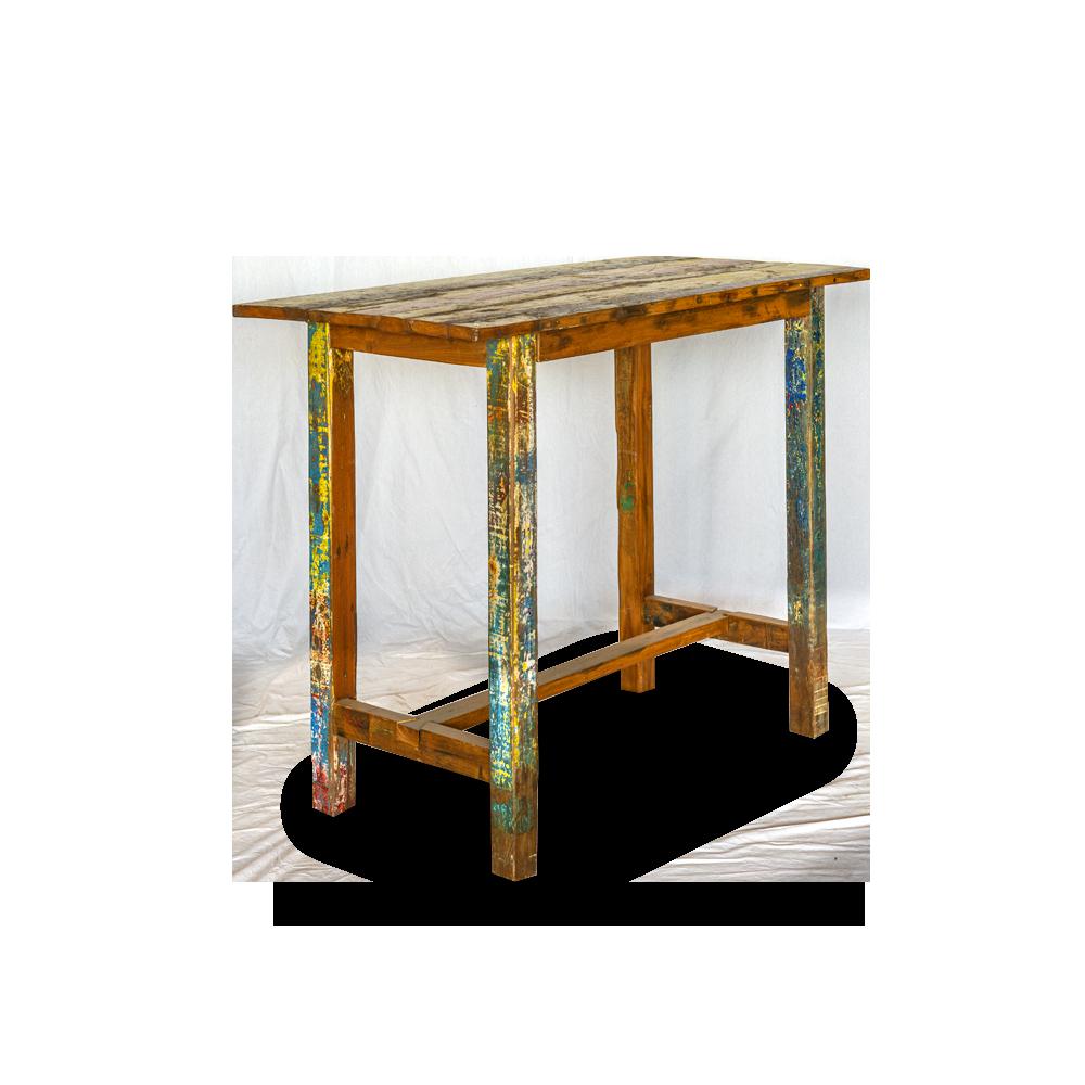 Tavolo bar in legno di teak recuperato dalle vecchie imbarcazioni