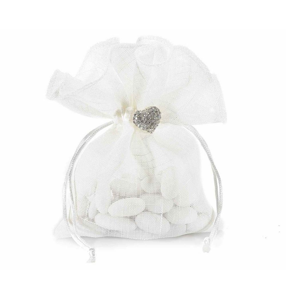Sacchetto in organza bianco con decorazione cuore gioiello
