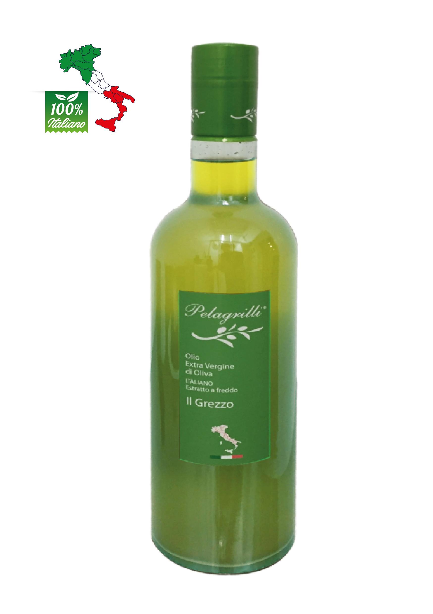100% ITALIANO LT 0,75  Olio extravergine di oliva- Raccolto 2020-2021- estratto a freddo GREZZO