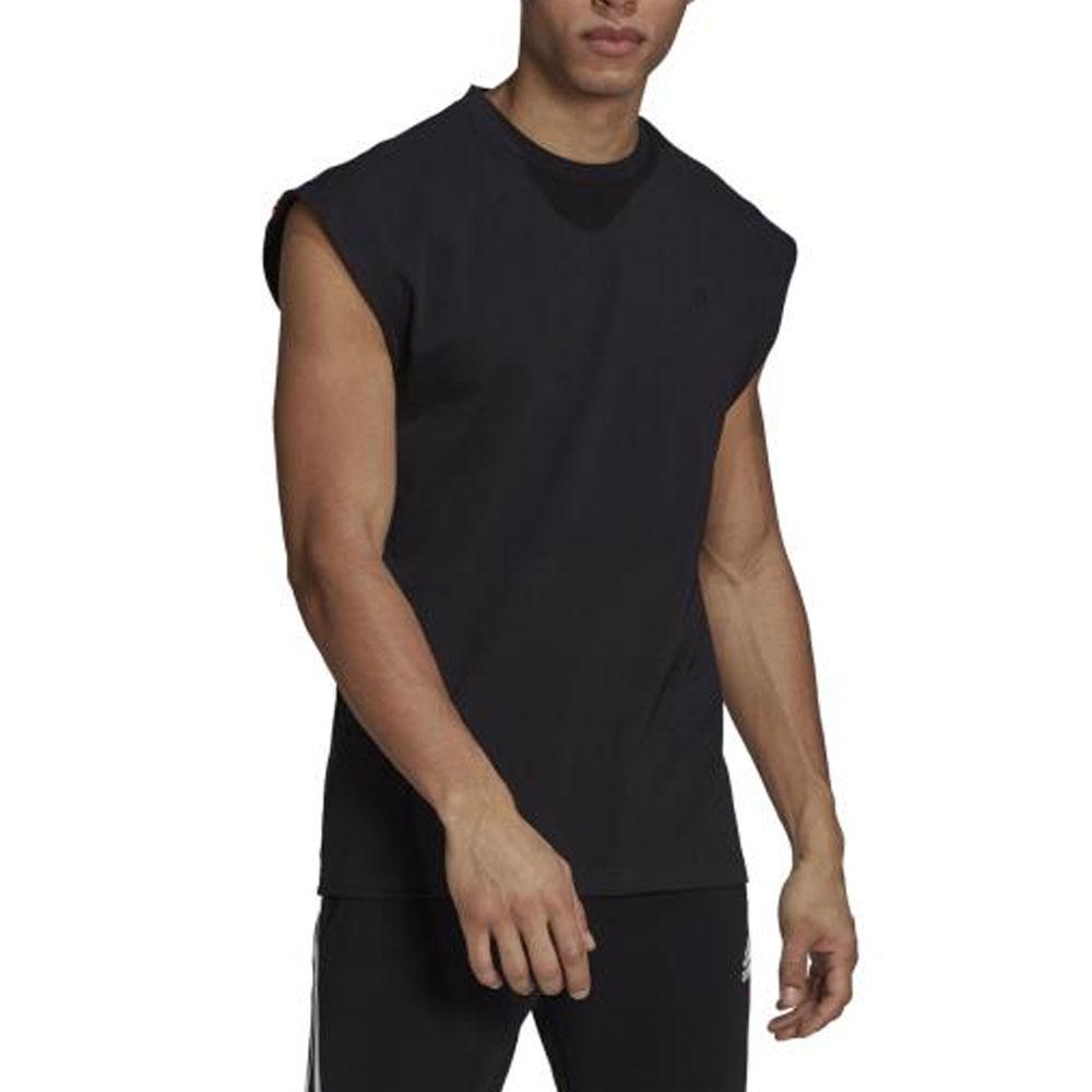 Adidas Canotta Sportswear Nera con tre strisce da Uomo