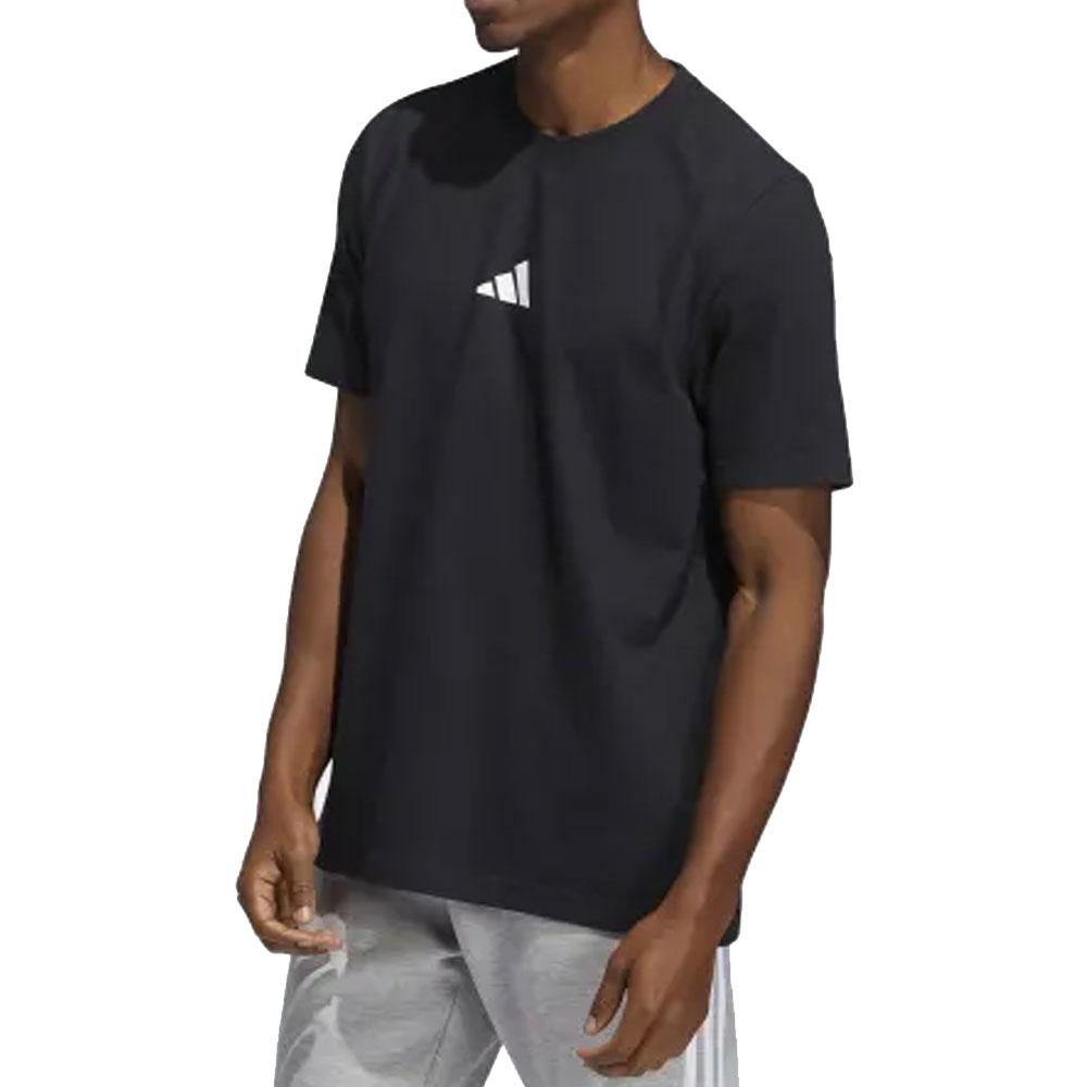 Adidas T-Shirt multi logo Nera da Uomo