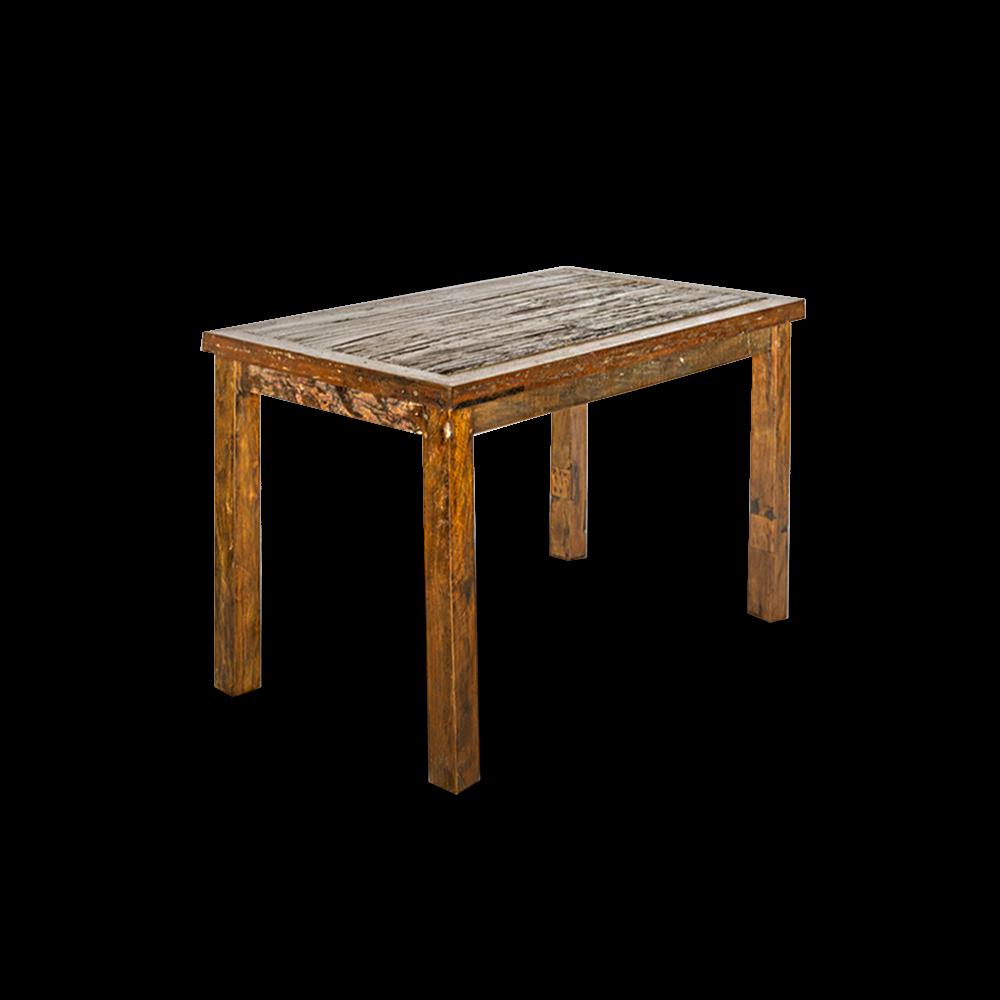 Tavolo in legno di teak top con assi recuperate da vecchie ferrovie indiane