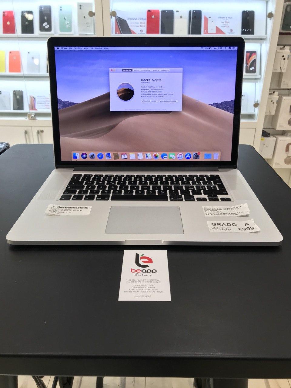 Apple MacBook Pro 2012 - intel® i7 - 15