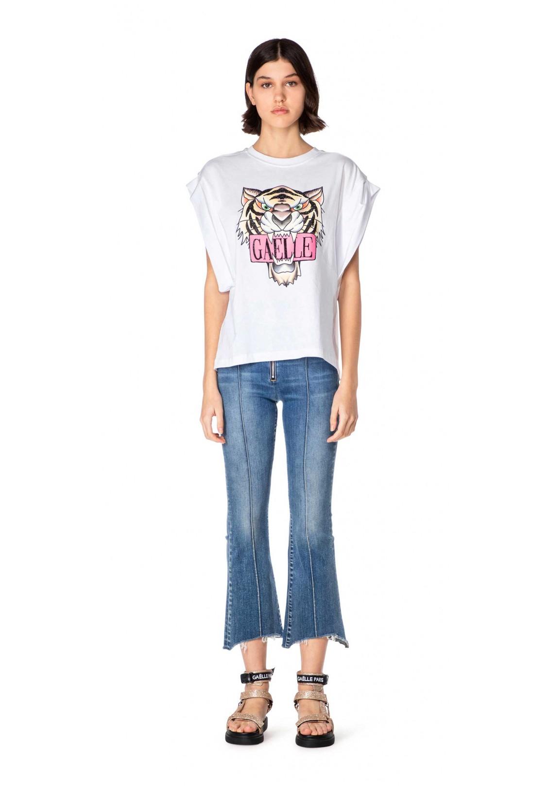 T-shirt con stampa tigre gaelle paris