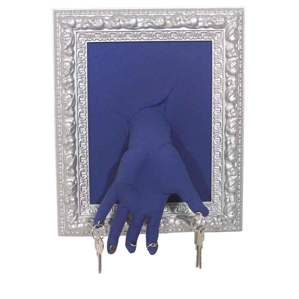 Portachiavi Mano da muro blu in resina decorata a mano