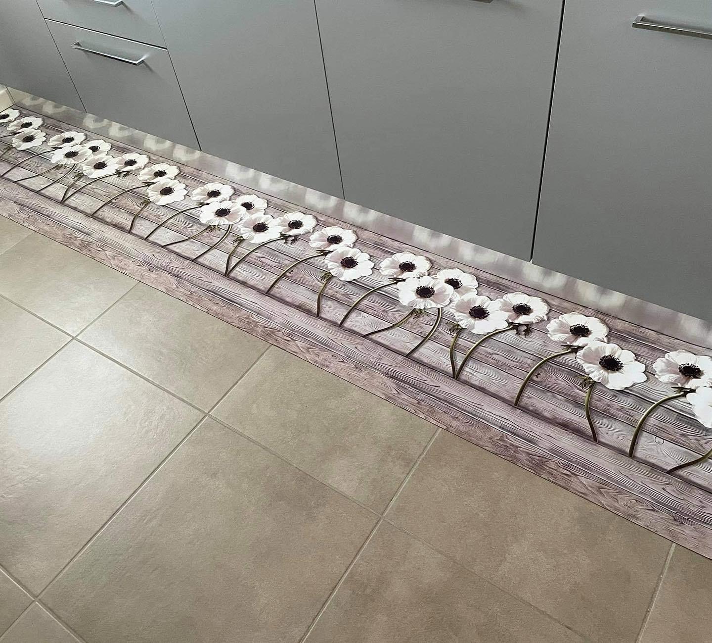 Passatoia a metraggio white flowers