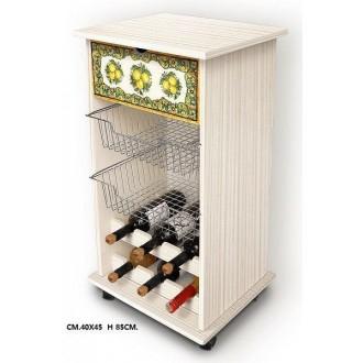 Carrello Porta Frutta Stile Shabby Decorazione Lemon Effetto Legno Beige 40x45 cm Alto 85 cm Multiuso