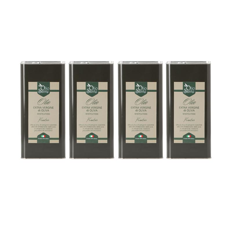 Olio EVO Frantoio 4 LATTINE DA  5L 2020/21 - Olio extravergine di oliva Italiano cultivar Frantoio Sante in Latta da 5 Litri