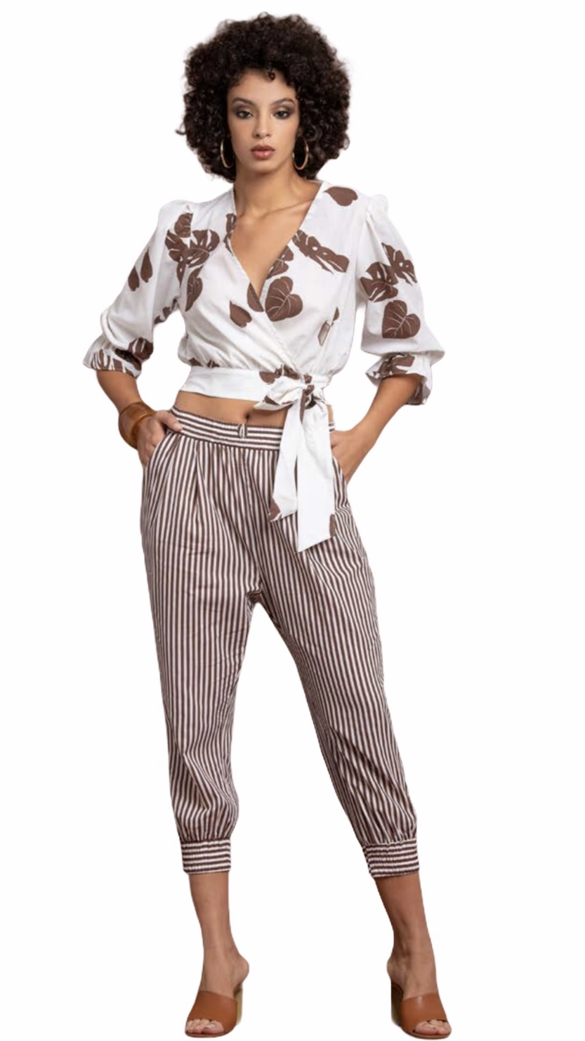 NUALY PANTALONE CROPPED A RIGHE