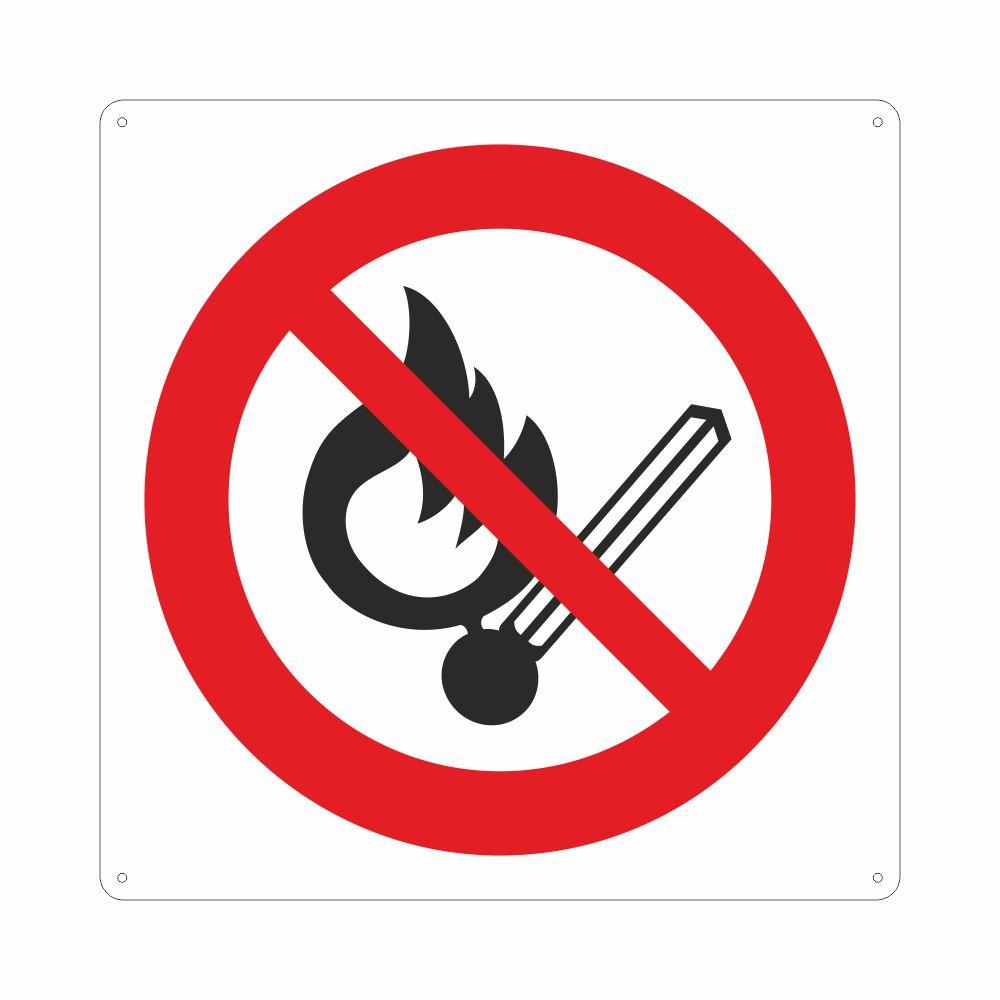 Cartello con simbolo vietato fumare e usare fiamme libere