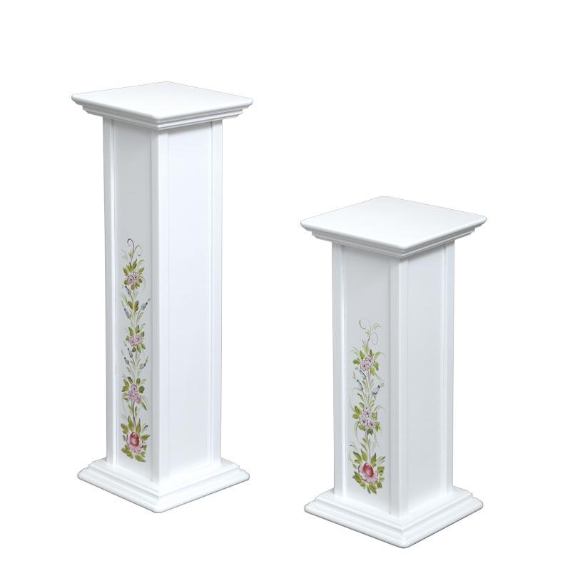 Zwei blumenverzierte Vasenständer - Höhe 60 und 80 cm