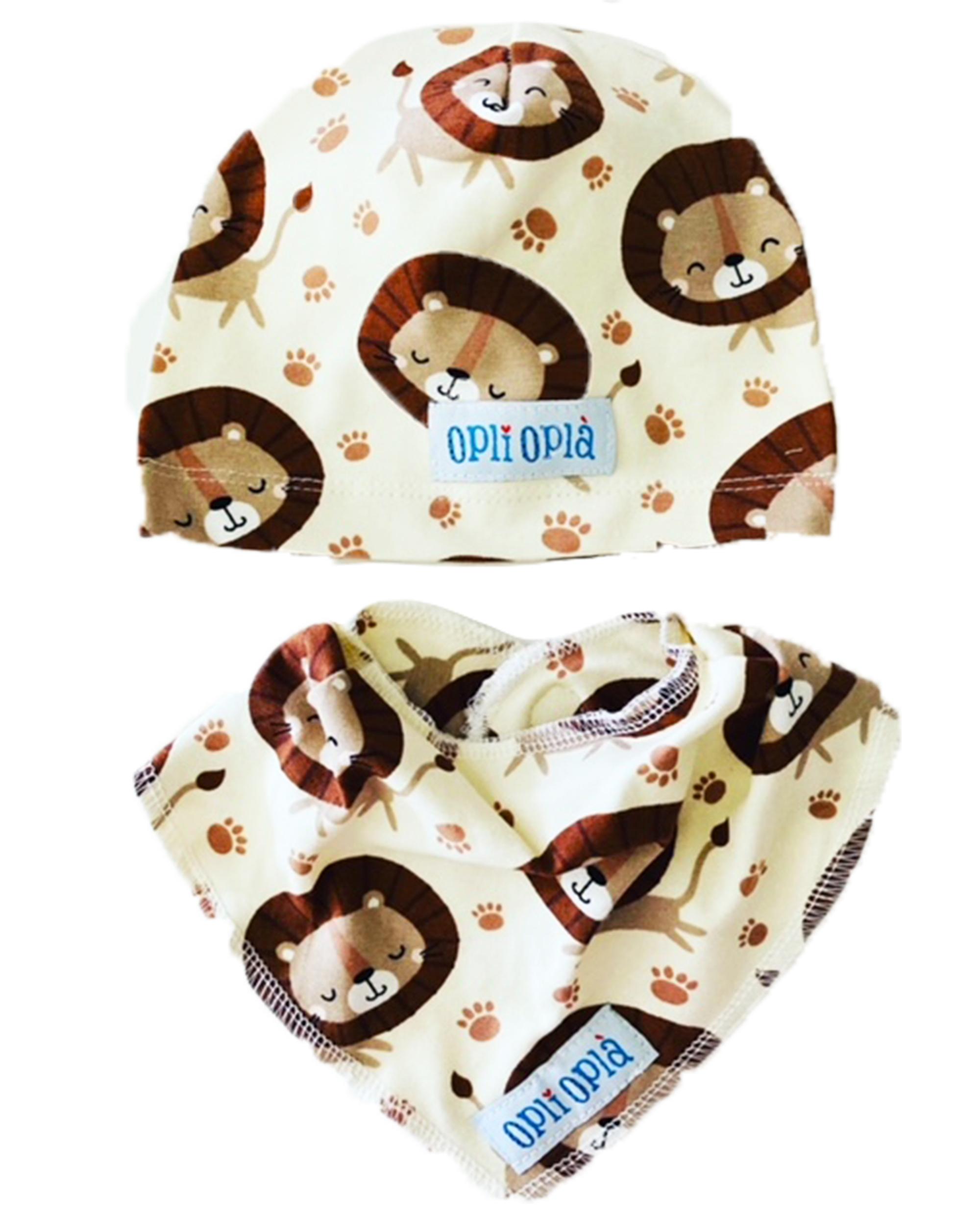 Set baby Leone: cappello + bavetta baby
