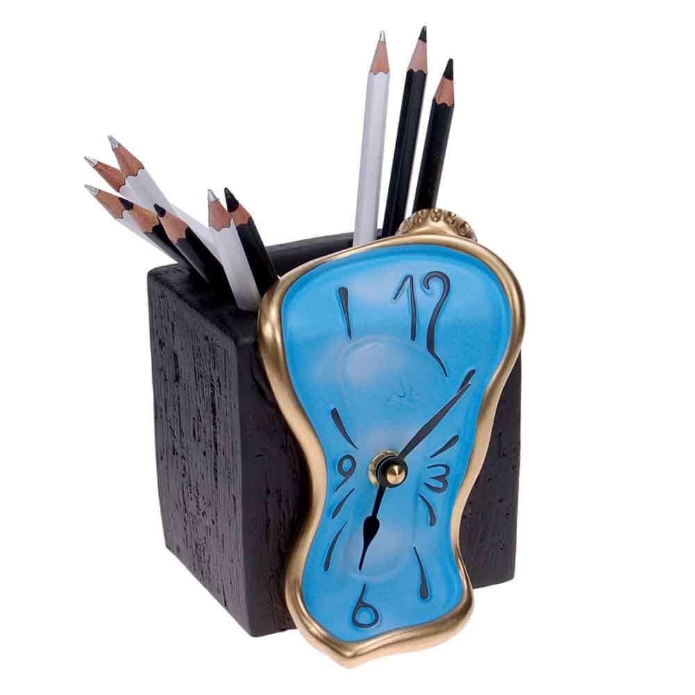 Orologio da tavolo azzurro portamatite in resina decorata a mano