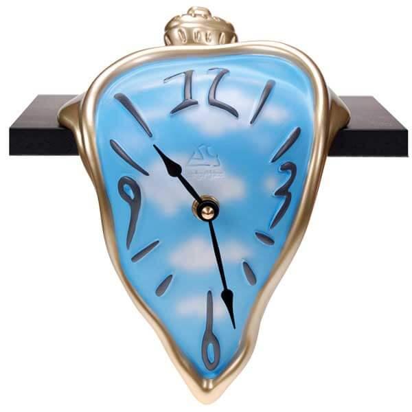 Orologio da mensola surrealista azzurro in resina decorata a mano