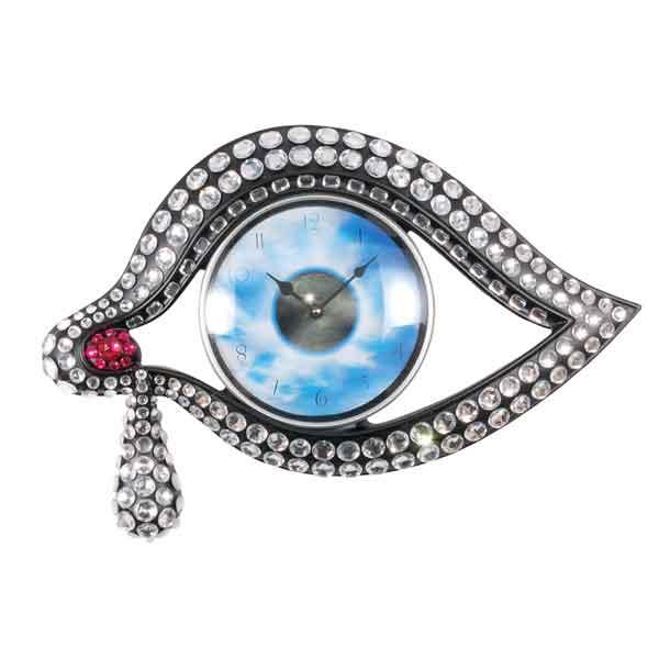 Orologio da muro Occhio del tempo in resina e metallo decorato