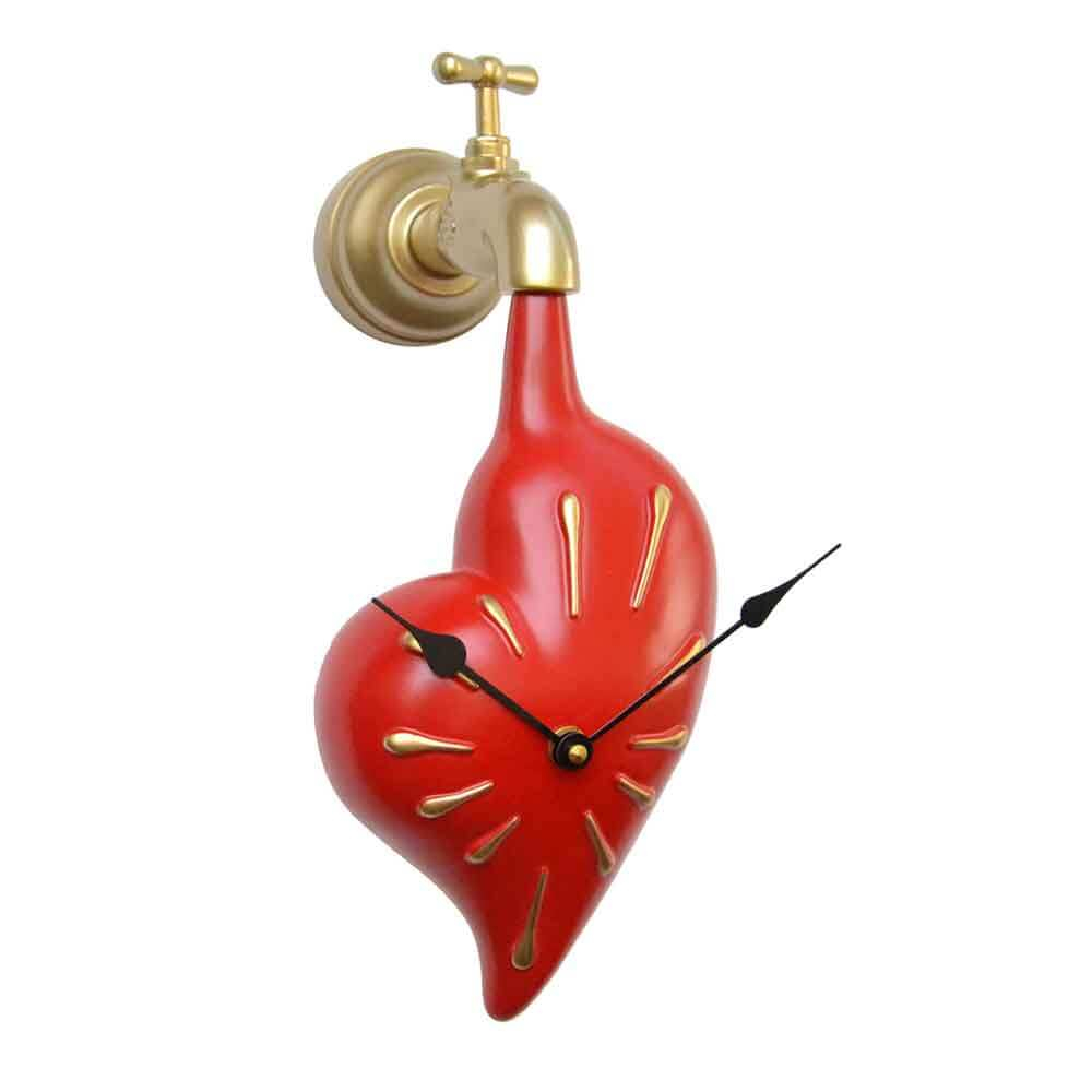 Orologio da muro Cuore rosso in resina decorata a mano