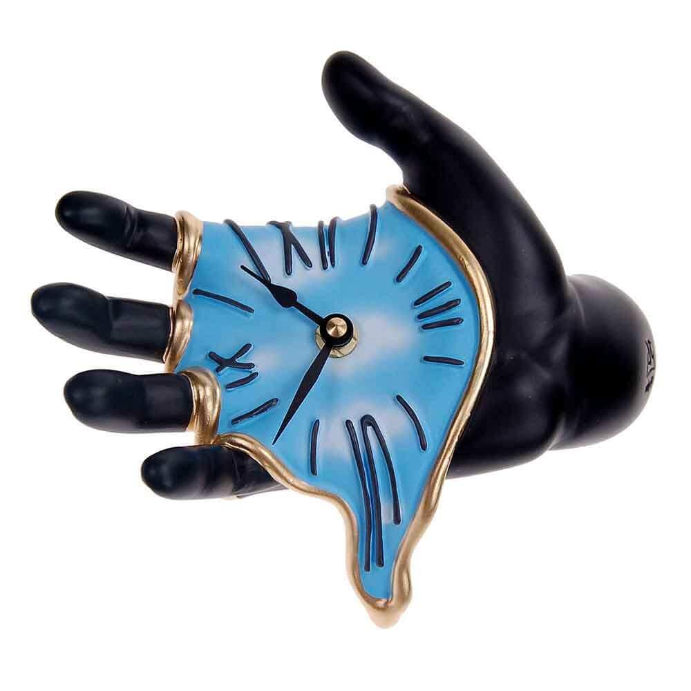 Orologio da muro Mano nero/azzurro in resina decorata a mano