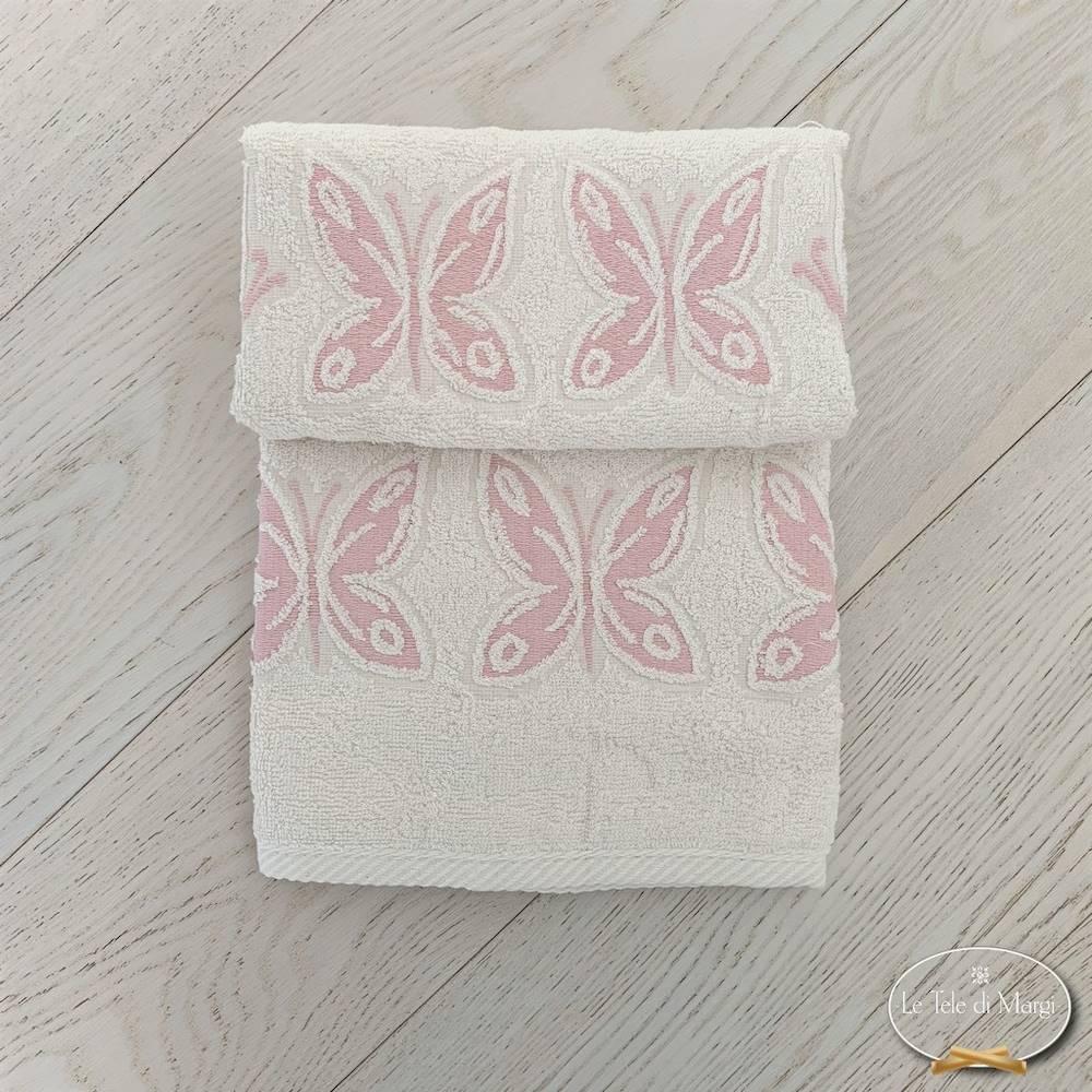 Asciugamani farfalle rosa